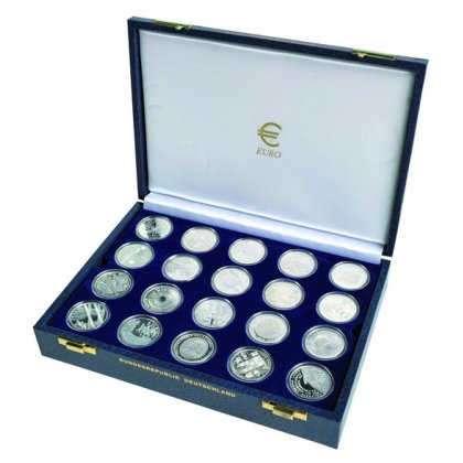 10 Euro Münzenkassette Brd Für 40 Münzen In Dosen Crylux Blau 3900
