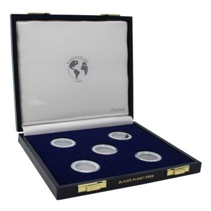 5 Euro Münzenkassette Brd Blauer Planet Erde Für 5 Münzen In Dosen