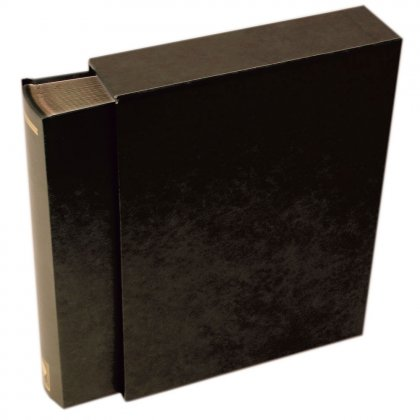 stock book with slipcase, 64 black pages Black