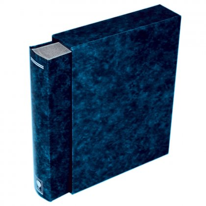 stock book with slipcase, 64 black pages Blue